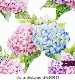 hydrangea, pattern, watercolor,  flowers,