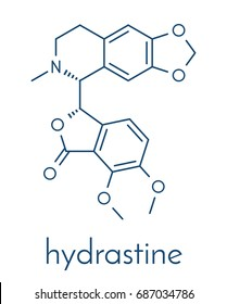 Hydrastine herbal alkaloid molecule, found in Hydrastis canadensis (goldenseal). Skeletal formula.