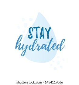 Hydrate yourself quote  calligraphy text. Vector illustration text hydrate yourself. Design print for t shirt, tee, card, type poster banner.