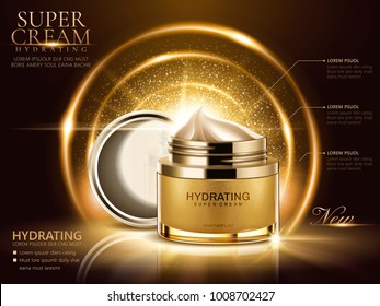 Hydrating cream ads, golden cream jar with open lid and glittering decorative elements in 3d illustration