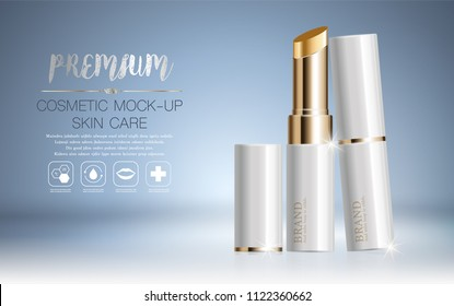 Hydrating facial lipstick for annual sale or festival sale. white and orange and gold lipstick mask bottle isolated on glitter particles background. Graceful cosmetic ads, illustration.