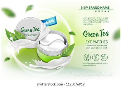 Hydrating Under Eye Gel Patches vector ads. Illustration with eye gel patches open container for your design