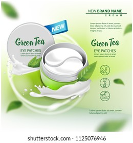 Hydrating Under Eye Gel Patches vector advertising for catalog, magazine. Illustration with eye gel patches open container for your design