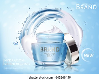 hydration cosmetic cream ad, with water flow and white cream elements, 3d illustration