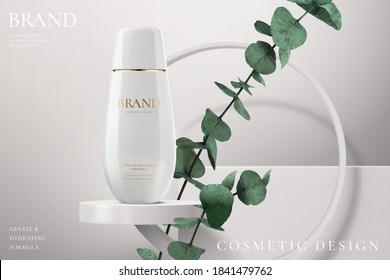 Hydration cosmetic cream on a white stage with plant in 3d illustration. Beauty cream ads template.
