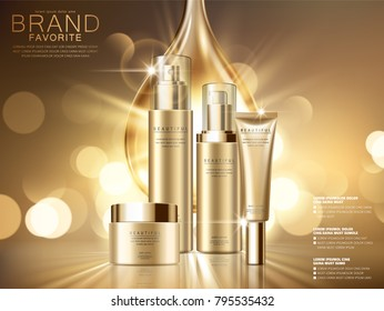 Hydration product ads, essence oil drop with cosmetic set isolated on golden glittering background in 3d illustration