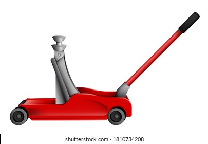 Hydraulic car jack on wheels. Car belt in repair shops. Increased lift. Lifting transport to change wheels. Realistic vector