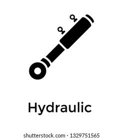 Hydraulic cylinder solid icon vector