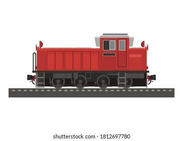 Hydraulic diesel shunter locomotive. Simple flat illustration.