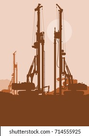 Hydraulic earth hole pile drilling machine, tractors digging at industrial construction site vector background illustration