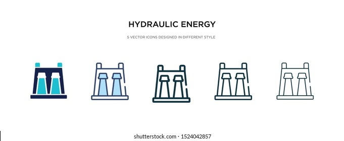 hydraulic energy icon in different style vector illustration. two colored and black hydraulic energy vector icons designed in filled, outline, line and stroke style can be used for web, mobile, ui