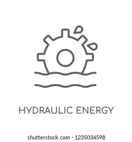 Hydraulic energy linear icon. Modern outline Hydraulic energy logo concept on white background from Ecology collection. Suitable for use on web apps, mobile apps and print media.