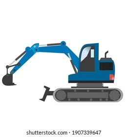 hydraulic excavator blue digger with a bucket. White background vector clipart