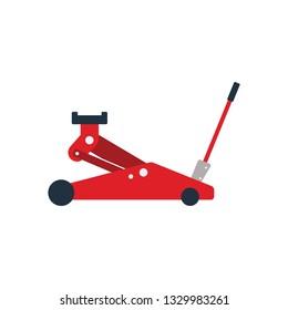 Hydraulic jack icon. Flat color design. Vector illustration.