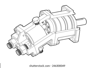 Hydraulic piston pump illustration isolated on white background.