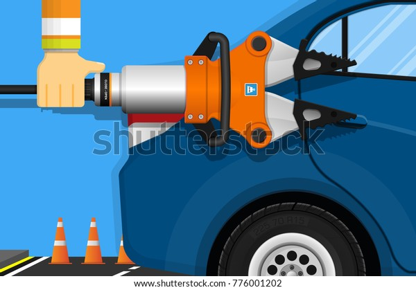 Hydraulic Rescue Tool Equipment Assist Driver Stock Vector (Royalty
