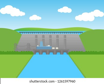 Hydro power Dam Concept, flat design vector.