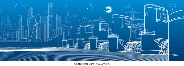 Hydro power plant. River Dam. Energy station. City infrastructure industrial illustration panorama. White lines on blue background. Vector design art