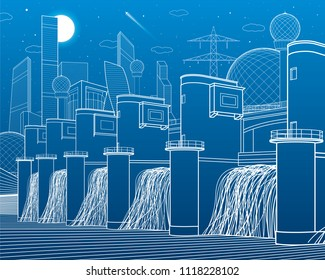 Hydro power plant. River Dam. Energy station. City infrastructure industrial illustration. Modern town. White lines on blue background. Vector design art