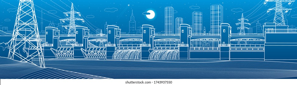 Hydro power plant. River Dam. Energy station. Power lines. City infrastructure industrial panorama. Urban life. White outline on blue background. Vector design art
