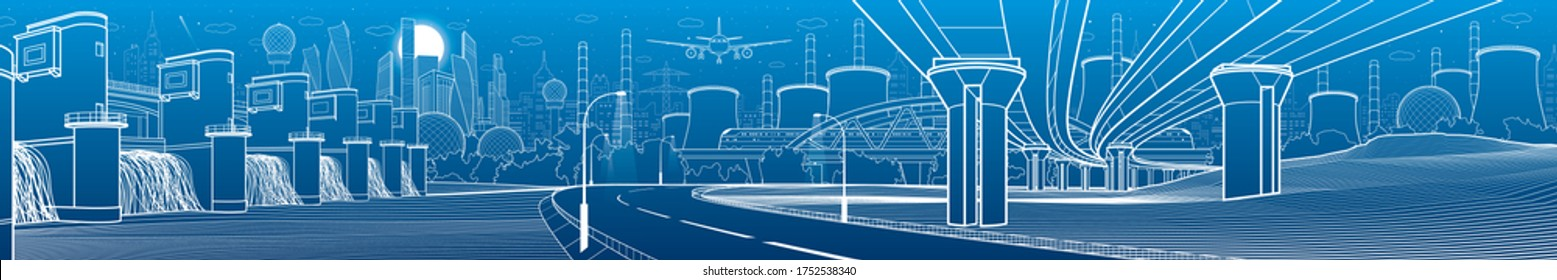Hydro power plant. River Dam. Train rides on bridge. Illumination highway. Car overpass. City infrastructure industrial illustration panorama. Urban life. White lines on blue background. Vector design