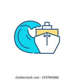 Hydrodynamic loads RGB color icon. Wave loading on offshore structures. Measuring ship-wave interaction. Hydrodynamic forces. Harbor protection. Breaking waves effects. Isolated vector illustration