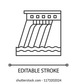 Hydroelectric dam linear icon. Water energy plant. Thin line illustration. Hydropower. Hydroelectricity. Contour symbol. Vector isolated outline drawing. Editable stroke