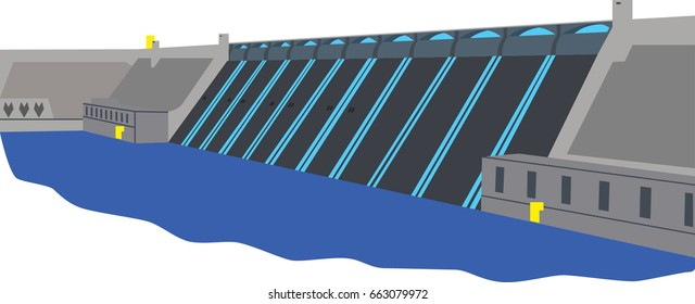 hydroelectric dam vector illustration with water on spillway and river below