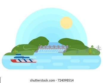 hydroelectric plant on a river with a reservoir flat bright vector illustration