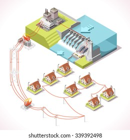 Hydroelectric Power Plant Factory Electric. Water Power Station Dam Electricity Grid  Energy Supply Chain. Energy Harvesting and Energy Saving Management Diagram 3d Illustration Isometric Building