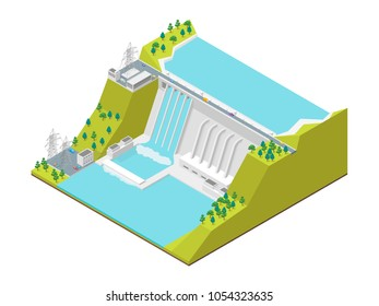 Hydroelectric Power Station Concept 3d Isometric View Symbol of Renewable Source Hydropower. Vector illustration of Hydroelectric Dam Building