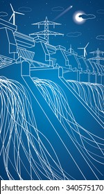 Hydroelectric Power Station Hydro Energy Plant Vector Neon Lines