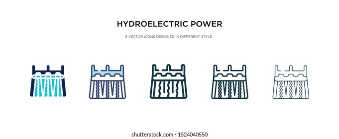 hydroelectric power station icon in different style vector illustration. two colored and black hydroelectric power station vector icons designed in filled, outline, line and stroke style can be used