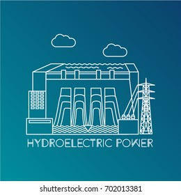 Hydroelectric power station. Linear illustration in a flat style. City infographics set. All types of power stations. System with transmission tower and generator and Dam. Front view. One line design