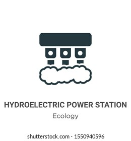 Hydroelectric power station vector icon on white background. Flat vector hydroelectric power station icon symbol sign from modern ecology collection for mobile concept and web apps design.