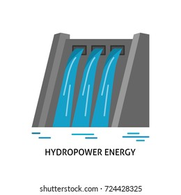 Hydroelectric station icon in flat style. Water flow energy. Linear symbol isolated on white background.