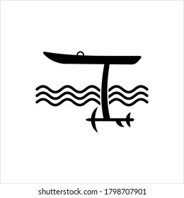 Hydrofoil Board Icon, Foilboard Icon, Surfboard With A Hydrofoil Attached Below Vector Art Illustration