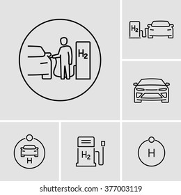 Hydrogen Car Station Icons