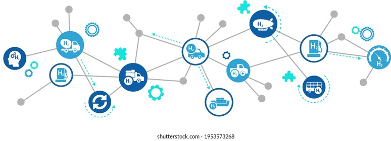 Hydrogen fuel vector illustration. Concept with connected icons related to h2 alternative and green energy, hybrid cars or sustainable transport.