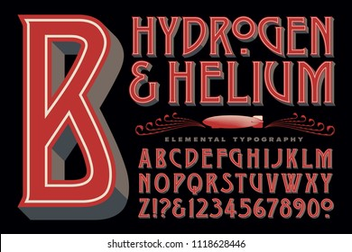 Hydrogen & Helium is an original alphabet in an art nouveau style with a steampunk flair.