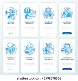 Hydrogen production onboarding mobile app page screens set. H2 solutions walkthrough 4 steps graphic instructions with concepts. UI, UX, GUI vector template with linear color illustrations