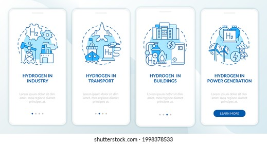 Hydrogen usage onboarding mobile app page screen. Industrial sector sector walkthrough 4 steps graphic instructions with concepts. UI, UX, GUI vector template with linear color illustrations
