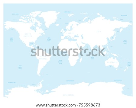Map Of World And Oceans.Hydrological Map World Labels Oceans Seas Stock Vector Royalty Free
