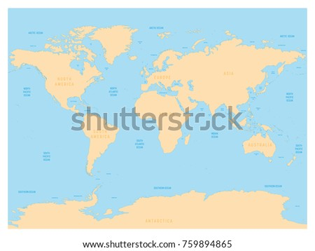 Hydrological Map World Labels Oceans Seas Stock Vector Royalty Free