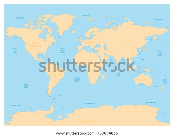 A Map Of The World With Labels.Hydrological Map World Labels Oceans Seas Stock Vector Royalty Free
