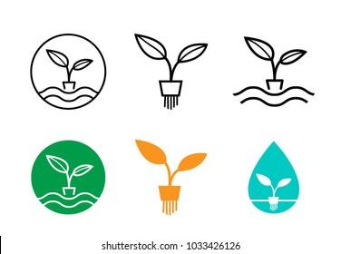Hydroponics plants logo and symbol, vector design