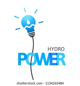 Hydropower concept with lightbulb and water drop with wave inside. Integrated text and lettering with multiply blend mode.