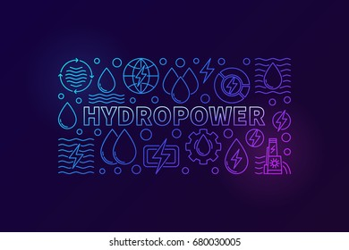 Hydropower creative banner. Vector renewable energy concept illustration made with outline water icons on dark background