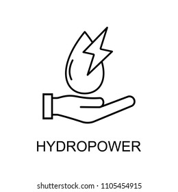 hydropower outline icon. Element of enviroment protection icon with name for mobile concept and web apps. Thin line hydropower icon can be used for web and mobile on white background