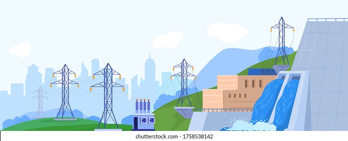 Hydropower station generator vector illustration. Cartoon flat landscape with power generating hydroelectric plant on water river dam, power lines. Alternative eco green renewable energy background